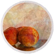 Peach Trio  Round Beach Towel