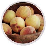 Peaches In A Basket Round Beach Towel