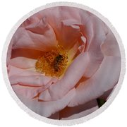 Peachy Petals And Bee Round Beach Towel