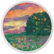Peachy Sunset Round Beach Towel