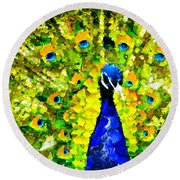 Peacock Abstract Realism Round Beach Towel