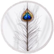 Peacock Abstract Round Beach Towel