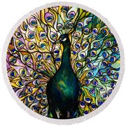Peacock Round Beach Towel by American School