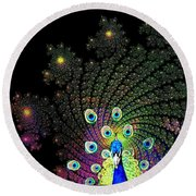 Peacock Explosion Display Round Beach Towel