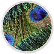 Peacock Eye And Sword Round Beach Towel