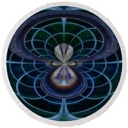 Peacock Feather Abstract Round Beach Towel