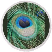 Peacock Feather Round Beach Towel