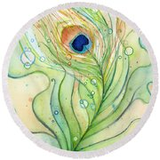 Peacock Feather Watercolor Round Beach Towel