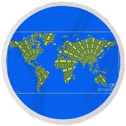Peacock Feather World Map Round Beach Towel
