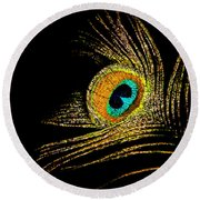Peacock Feathers 7 Round Beach Towel