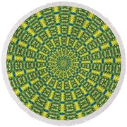 Peacock Feathers Kaleidoscope 2 Round Beach Towel