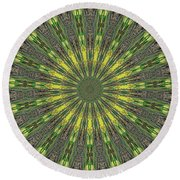 Peacock Feathers Kaleidoscope 5 Round Beach Towel