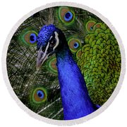 Peacock Head And Tail Round Beach Towel