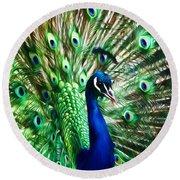 Peacock - Impressions Round Beach Towel