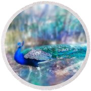 Peacock In The Mist Round Beach Towel
