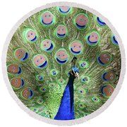 Peacock Smiles Round Beach Towel