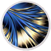 Peacock Tail Feather Round Beach Towel