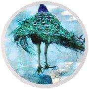 Peacock Walking Away Round Beach Towel