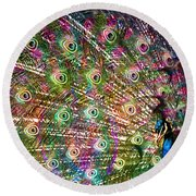 Peacocked Round Beach Towel