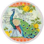 Peacocks In The Rose Garden-3 Round Beach Towel