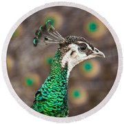 Peahen And Peacock Round Beach Towel
