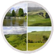 Peak District Collage 01-labelled Round Beach Towel