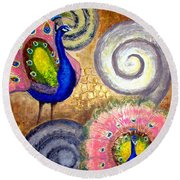Peacock Swirl Round Beach Towel