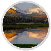 6m6530-a-peaks Reflected Touolumne Meadows  Round Beach Towel
