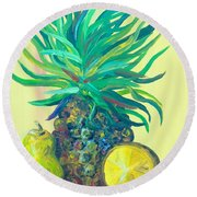 Pear And Pineapple Round Beach Towel