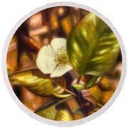 Pear Blossom Round Beach Towel