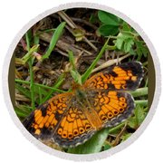 Pearl Crescent Butterfly Round Beach Towel