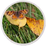 Pearl Crescent Butterfly On Yellow Leaf Round Beach Towel