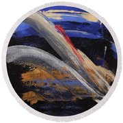 Pearl Girl Round Beach Towel