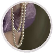 Pearl Necklace Round Beach Towel