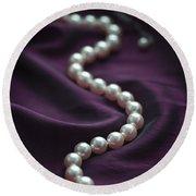 Pearl Necklace On Purple Silk Round Beach Towel