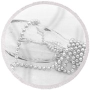 Pearls And Old Glass Abstract Round Beach Towel