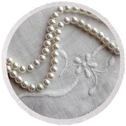 Pearls And Old Linen Round Beach Towel by Barbara Griffin