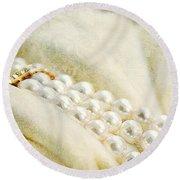 Pearls On White Velvet Round Beach Towel