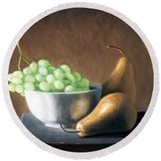 Pears And Grapes Round Beach Towel
