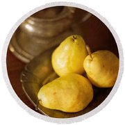 Pears And Great Grandpa's Silver Round Beach Towel