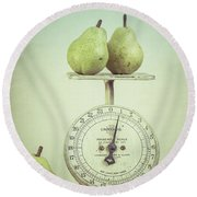 Pears And Kitchen Scale Still Life Round Beach Towel