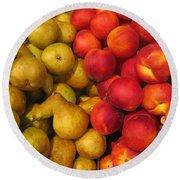 Pears And Peaches. Fresh Market Series Round Beach Towel