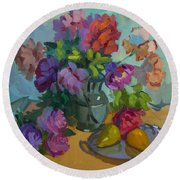 Pears And Roses Round Beach Towel