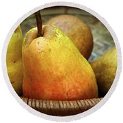 Pears In A Basket Round Beach Towel