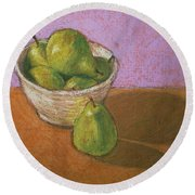 Pears In Bowl Round Beach Towel