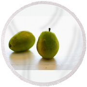 Pears On A White Background Round Beach Towel