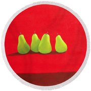 Pears On Red Cloth Round Beach Towel