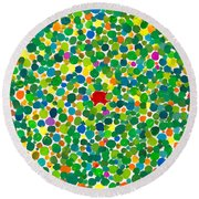 Peas On Earth Round Beach Towel