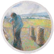 Peasants In The Fields Round Beach Towel by Camille Pissarro