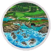 Pebble Beach 15th Hole-north Round Beach Towel